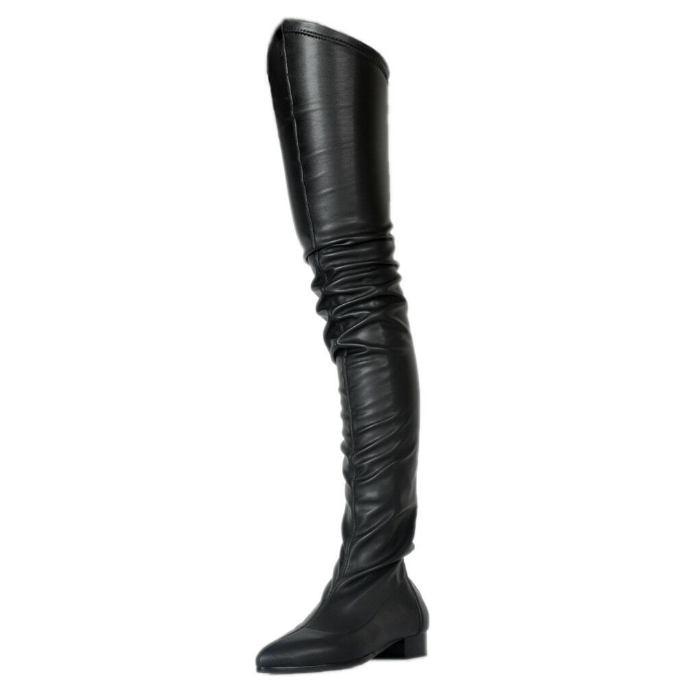 Modish Modish Modish Europa Overkneestiefel Damen Schuhe Schwarz Stiefel Zipper Stiefel 34-47 03ef5b