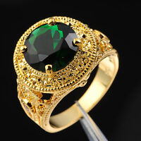 Jenny G Men's Jewelry 10ct Green Emerald 18K Yellow Gold Filled Ring Size 9-12