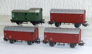 4-Maerklin-Gueterwagen-2x-4505-4506-mit-Schlusslicht-4699-Gepaeckwagen-H0-1-87