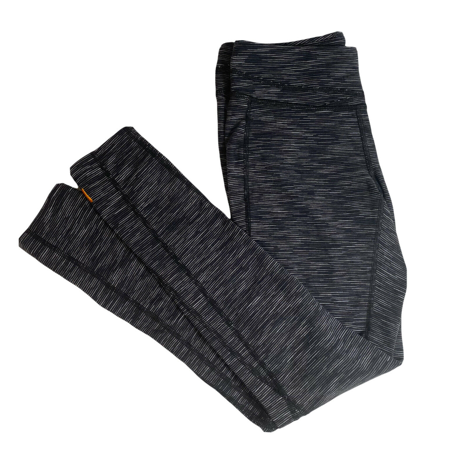 Lucy.com Womens Grey Black Striped Athletic Legging Long Spandex Supplex Nylon