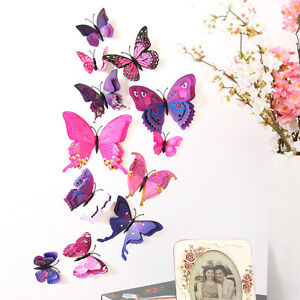 12PC 3D Simulation DIY Butterfly Double Wings w/ Magnet for Wall Stickers Decor