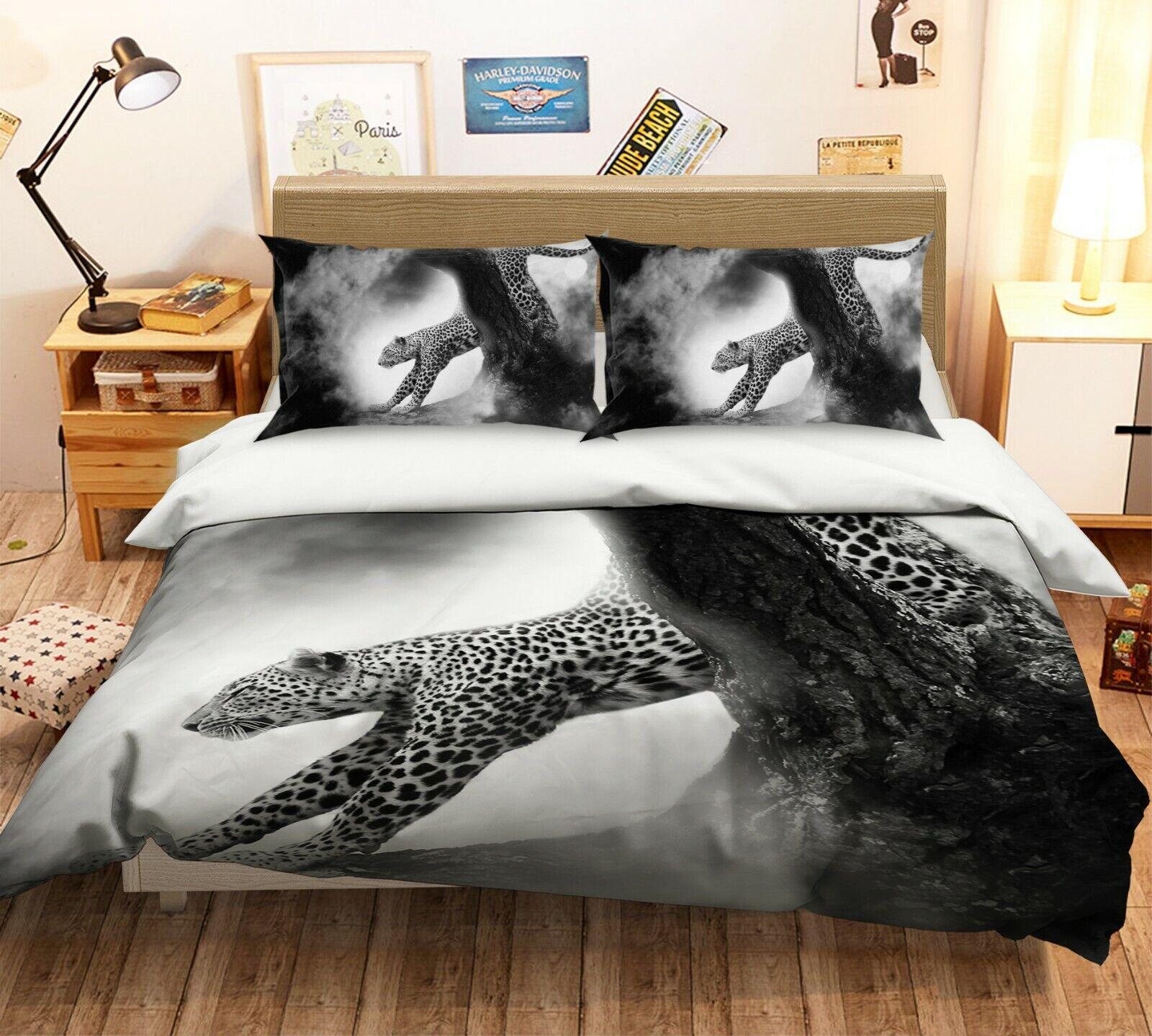 3D Leopard G71 Animal Bed Pillowcases Quilt Duvet Cover Set Queen King Wendy