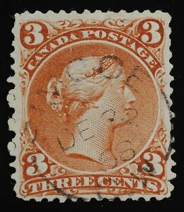 Rare Specialized paper Large Queen 3¢ very thin soft white #9A Simcoe DE 2 68
