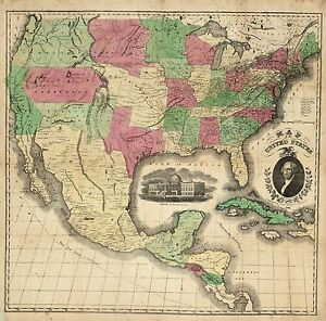 Details about 1853 UNITED STATES AMERICA historic map POSTER 4404000