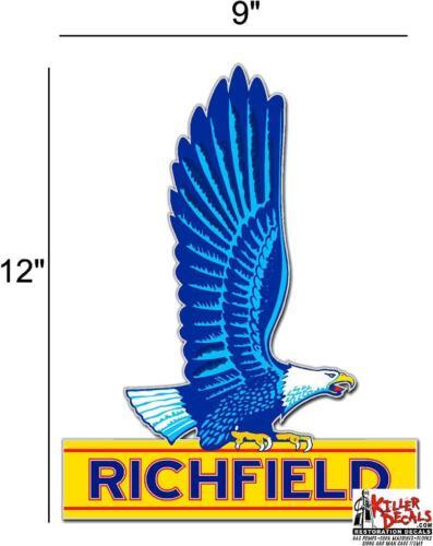 "12/"" RICHFIELD SIGN HI OCTANE GASOLINE OIL VINYL DECAL GAS PUMP LUBSTER"