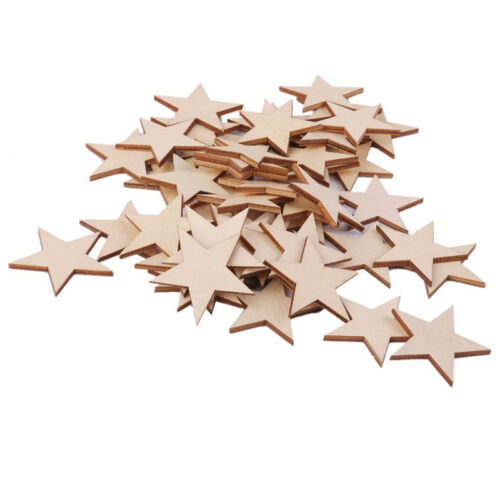 25 Pcs Natural Unfinished Blank Wood Wooden Stars Star   Decor Crafts DECO