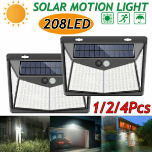 4Pack Solar Power Light Outdoor Sensor Motion 208LED Security Wall Lamp Garden
