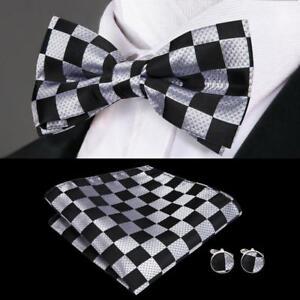 USA-Black-Grey-Plaids-amp-Checks-Silk-Mens-Bow-Tie-Hanky-Cufflinks-Pocket-Square-Set