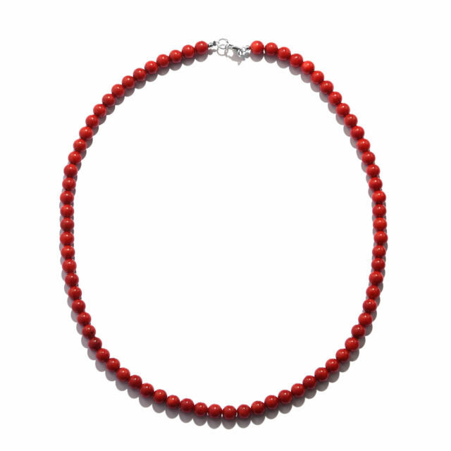 """Women's 925 Sterling Silver Red Coral Beaded Bead Necklace Jewelry 18"""" Ctw 100"""
