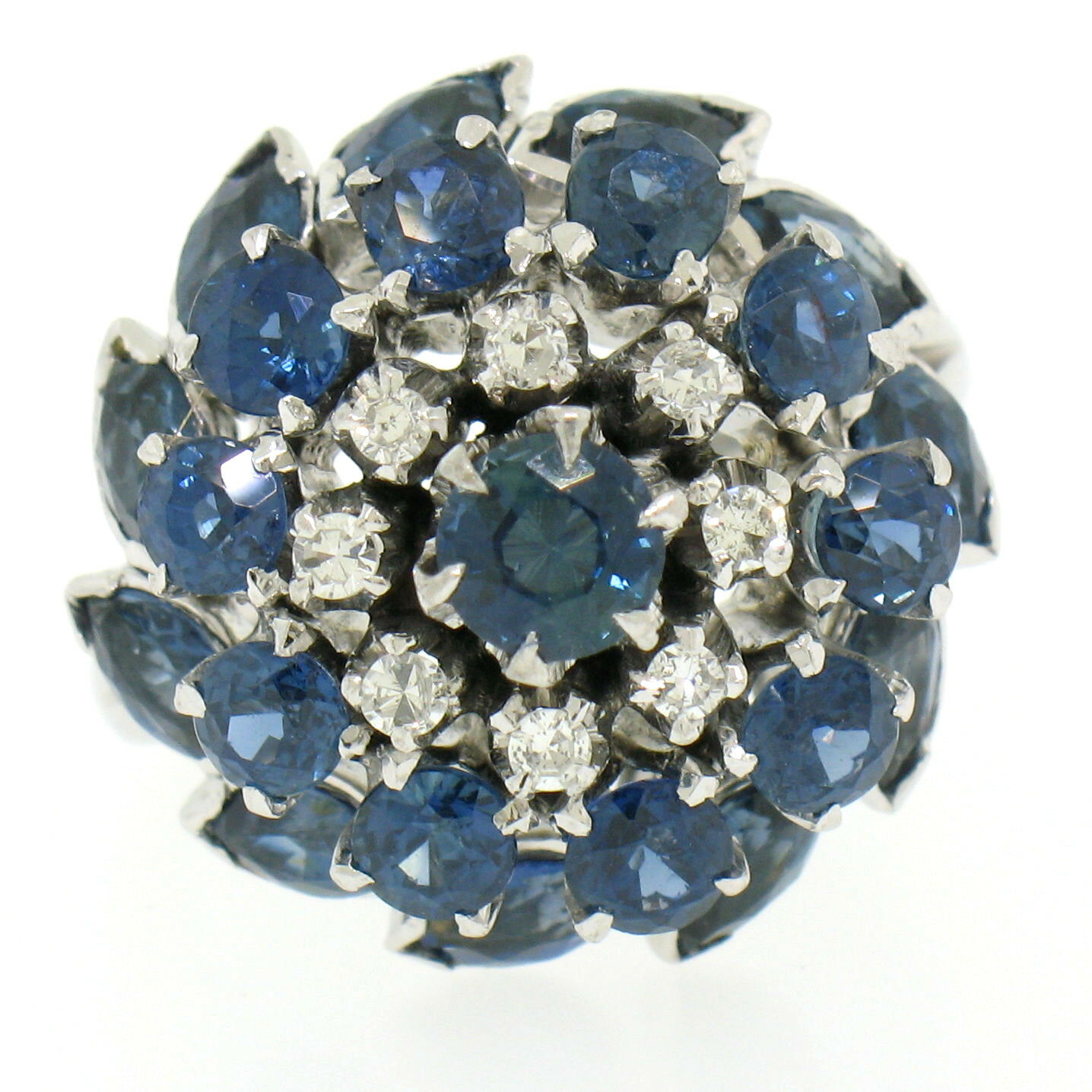 Vintage 14k White gold 3.56ctw Tiered Round Marquise Sapphire Old Diamond Ring