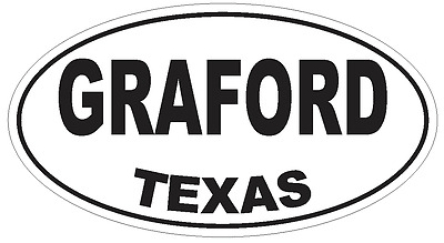 Graford Texas Oval Bumper Sticker or Helmet Sticker D3425 Euro Oval