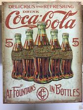 Coca Cola 5 Bottles Vintage Retro Metal Tin Sign Bar Pub Studio Wall Decor
