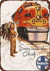 "1948 Santa Fe Railroad Super Chief Rustic Retro Metal Sign 8"" x 12"""