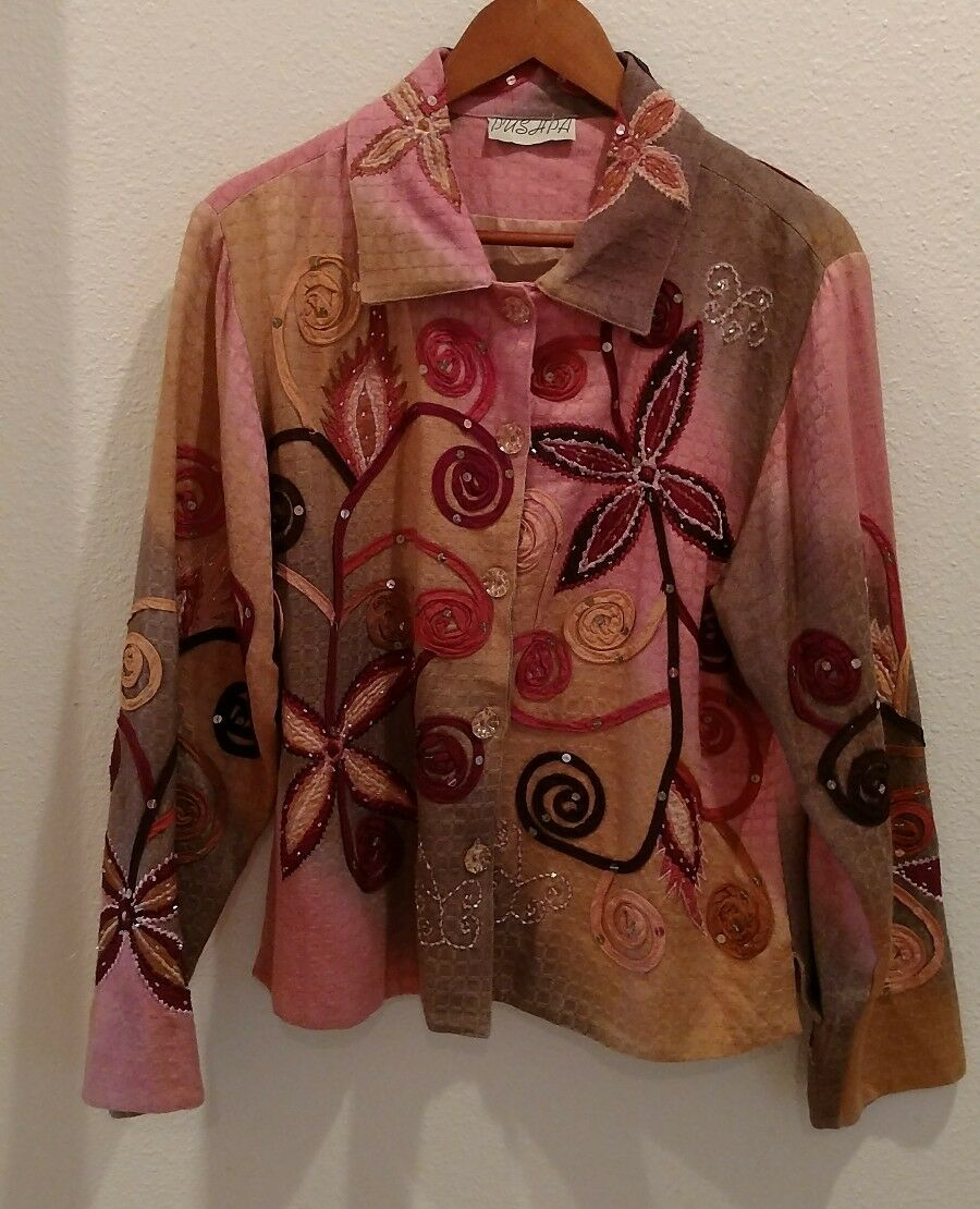 PUSHPA Size Large Vintage Blazer Browns Pinks Peach Fully Lined Beads Sequins