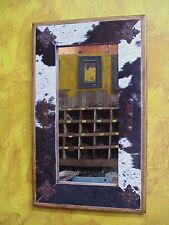 Cowhide Medallion Mirror-Wood-Mexican-22x36-Rustic-Cowboy-Clavos-Western-Lodge
