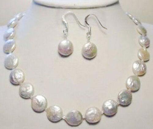 Véritable Naturel 11-12 MM blanc eau douce pièce collier de perles Boucles d/'oreilles Set