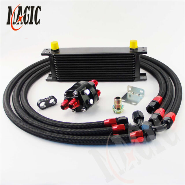 13 ROW AN-10AN UNIVERSAL ENGINE TRANSMISSION OIL COOLER BK+FILTER RELOCATION KIT