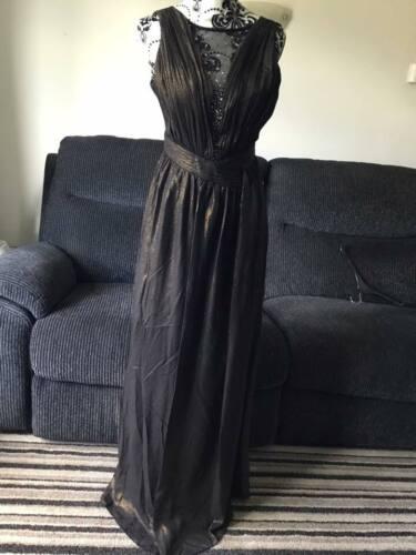 Little Mistress Embellie Black /& Gold Maxi Dress-UK 10