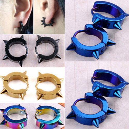 Titanium Steel Punk Rivet Ear Studs Spike Hoop Huggie Piercing Earring Hot —dd
