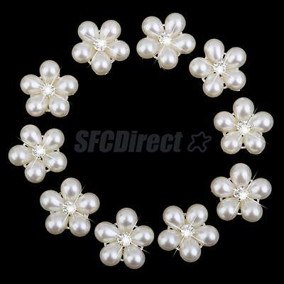 10Pcs Crystal Rhinestone Beige Pearl Alloy Flower Buttons Silver Tone