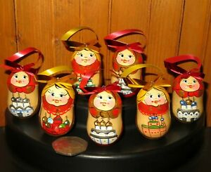 Christmas Tree ORNAMENTS Genuine HAND PAINTED Church MATRYOSHKA Dolls 7 Gift Set