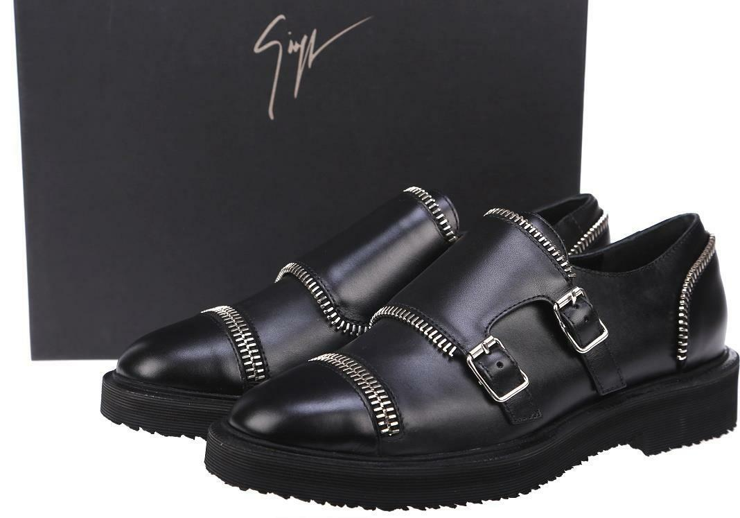 NEW GIUSEPPE ZANOTTI LADIES MONK BLACK LEATHER ZIPPER DETAIL MONK LADIES STRAP SHOES 38 5da0d4