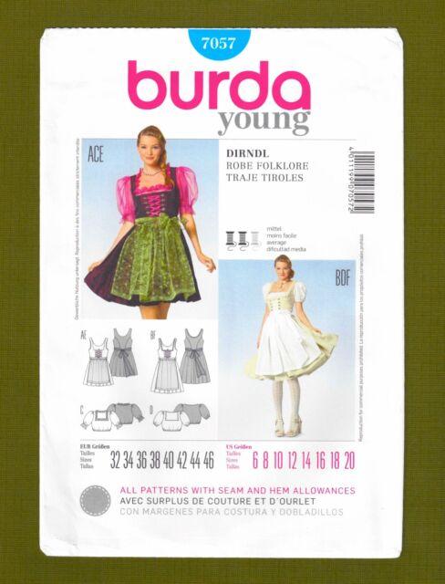 Dirndl Dress Blouse Costume Octoberfest Size 6-20 Burda 7057 Sewing ...