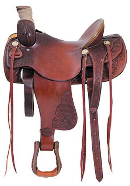 Western Havana Leather Hand Carved Roping Ranch Saddle  15 ,16 ,17 ,18