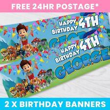 x2 Personalised Birthday Banner Paw Patrol Children Kids Party Decoration 2