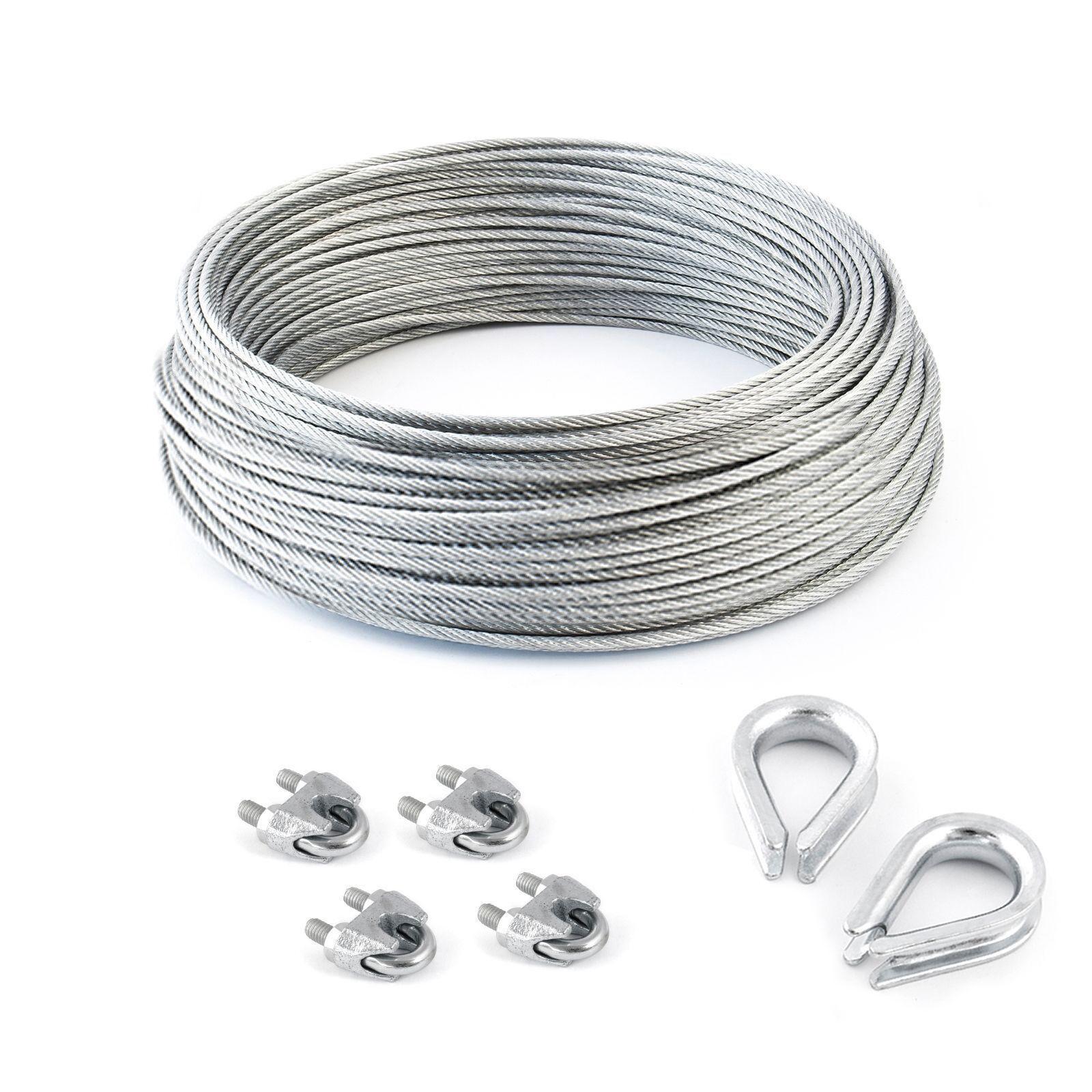 Stahlseil Set verzinkt 5m- 200m + 4 Klemmen + 2 Kausche Drahtseil Seile Seil DIN