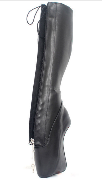 7 7 7  18CM High Heel Hoof Heelless Lady Sexy Lockable Zip Knee-High Ballet Boot New 78209b
