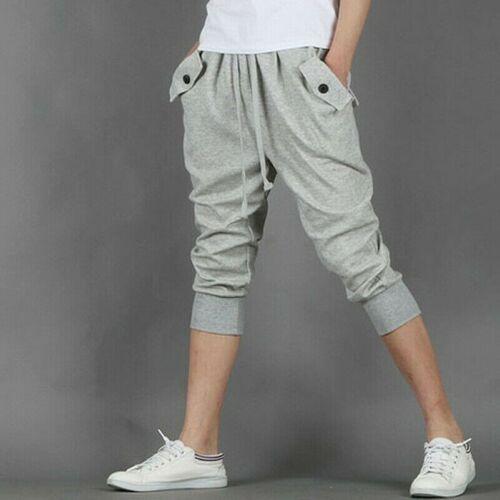 Messieurs coupé en survêtement pantalons poches-Capri Jogging Gym