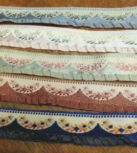 Vintage-Embroidered-Ruffle-Rayon-Silk-5-8-034-Trim-1yd-Made-in-France