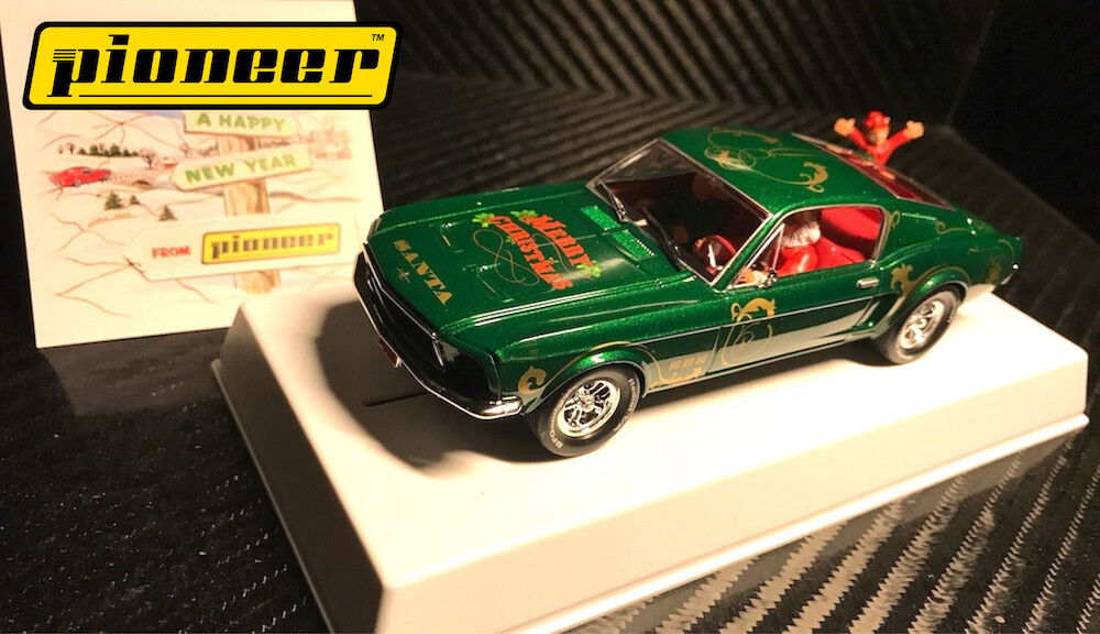 Pioneer  Santa's Stang  Green 1968 Ford Mustang 390 GT 1 32 Scale Slot Car P036