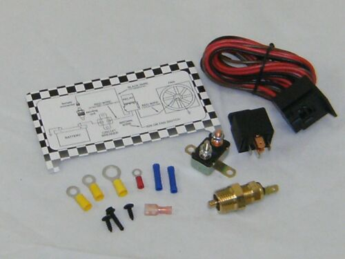 Electric Fan Wiring Install Harness Kit Complete Thermostat 50 Amp Relay 185°