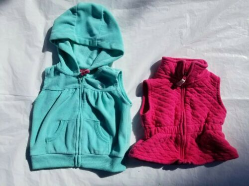 2 Piece Lot Baby Girls 12 Month Carter/'s Vests pink and mint green