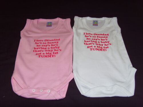 Funny Embroidered Personalised Vest Baby Shower Gift i love grandad hes so funny