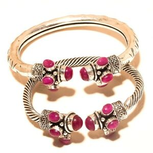 Ruby-Free-Shipping-Lot-2p-Cuff-Silver-Plated-Gemstone-Jewellery-Wp815