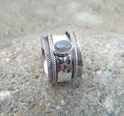 Labradorite Pierre Solide Argent Sterling 925 spinner ring méditation Anneau Taille