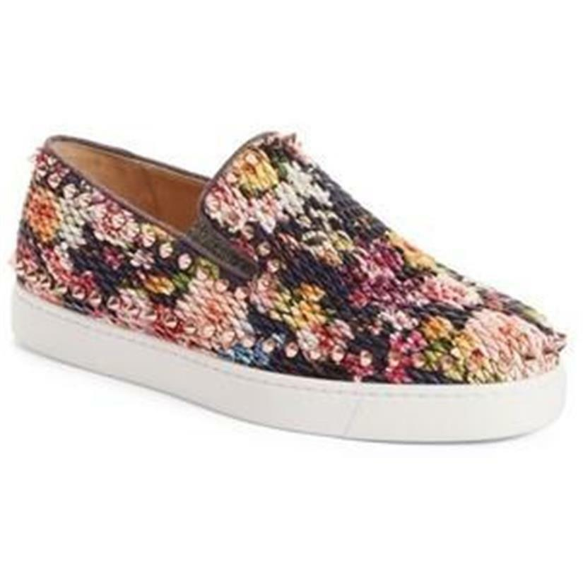 6df2310d44e6 Christian Louboutin Louboutin Louboutin PIK BOAT Quilted Floral Tissu Spike  Flat Sneaker Shoes  995 ea5c73