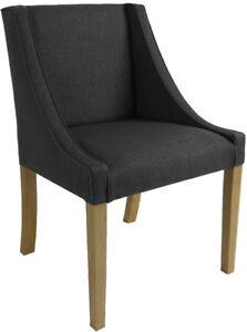 Stuhl Polsterstuhl Esszimmer Sessel Chanel Anthrazit Handgefertigt