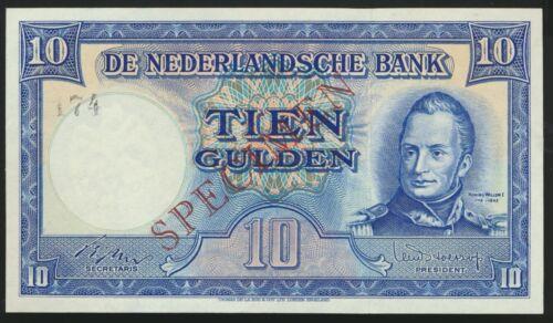 °°° SPECIMEN NETHERLANDS 10 GULDEN - UNC PERFECT °°°