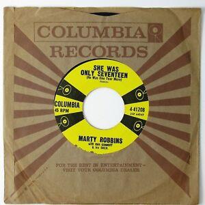 MARTY-ROBBINS-She-Was-Only-Seventeen-Sittin-039-In-A-Tree-7IN-1958-ROCKABILLY-VG