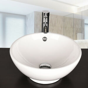 Bathroom Round White Porcelain Ceramic Vessel Sink Countertop Bowl Faucet Combo 711639360808 Ebay