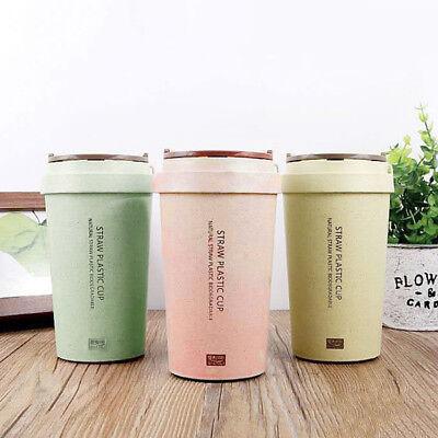 Travel Wheat Straw Cup 400ml Leak Proof Plastic With Double Wall LidEbay Coffee Mug ukOXPTZi
