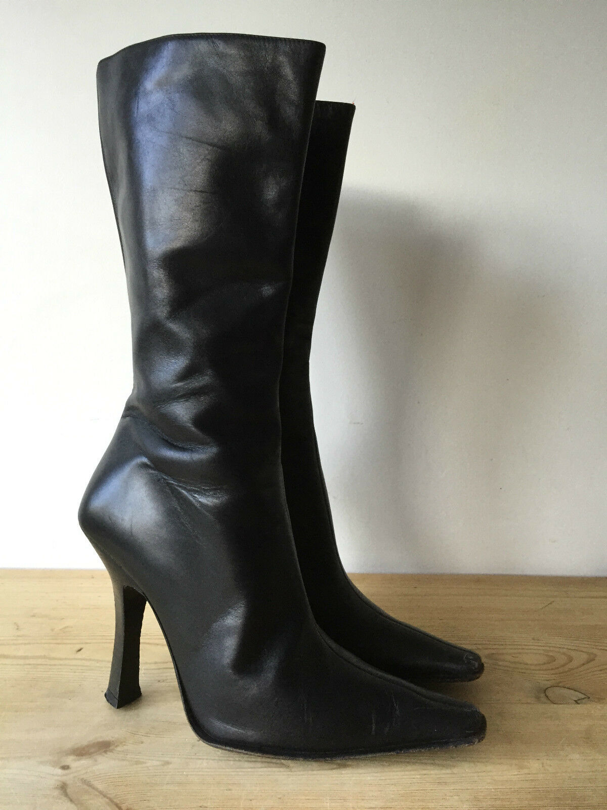 SACHA LADIES BLACK LEATHER MID CALF BOOTS UK6