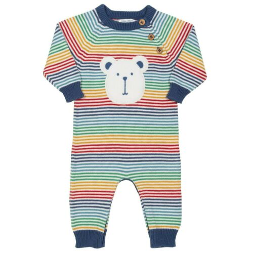 Kite Organic Cotton Rainbow Knit Bear Romper Baby Boys0-3 3-6 6-9 9-12 Months