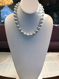 Vintage-16-Inch-12mm-Large-Hand-Knotted-White-Colored-Glass-Pearl-Necklace