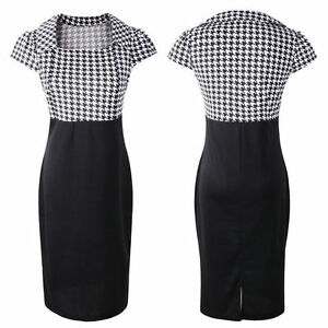 AU-VINTAGE-50S-ROCKABILLY-RETRO-HOUNDSTOOTH-PENCIL-WIGGLE-PINUP-PARTY-DRESS