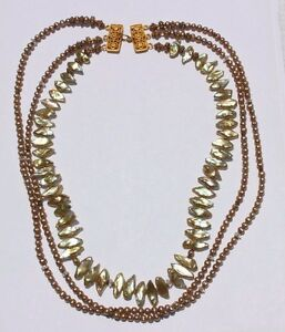 Three-Strand-Golden-Green-Freshwater-Pearl-Necklace-Ornate-Gold-plated-Clasp
